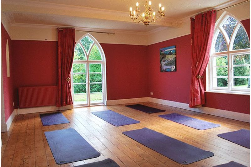 View of Sitting Room set up for Yoga